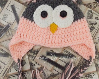 Crochet Baby Owl Hat Owl Hat baby Hat Crochet Beanie Pink Hat Crochet Baby Hat Crochet Owl Cute Hats Photography Props Baby Shower Gift