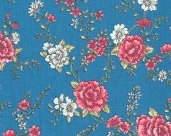 Au maison oilcloth mary petrol retro flower coated cotton