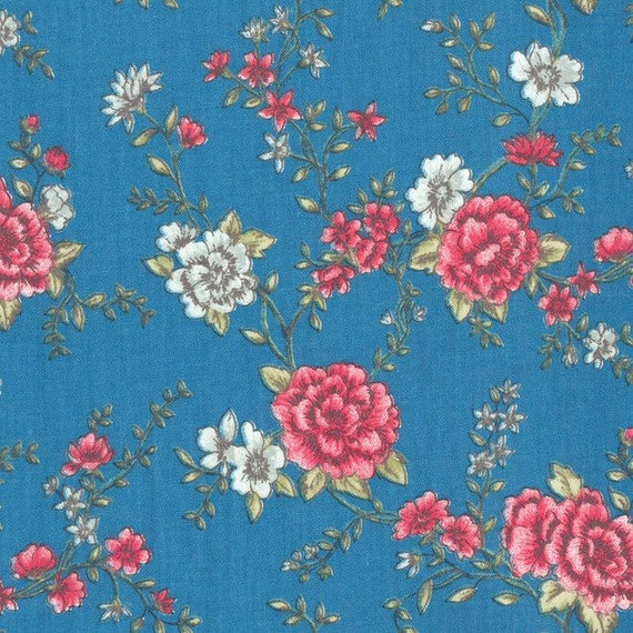 Au maison oilcloth mary petrol retro flower coated cotton for Au maison oilcloth