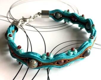 Soutache Bracelet, Woven Bracelet, Casual Bracelet, Friendship Bracelet,  Oriental Jewelry, Bead Embroidery, Boho Chic, Summer Outfit