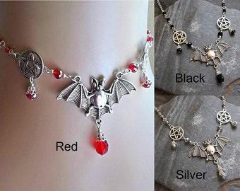 Blood Red Bat Choker Necklace, Black Bat Pentagram Necklace, Silver Gothic Bat Choker, Wicca Jewellery, Wiccan, Pagan, Vampire, Priestess