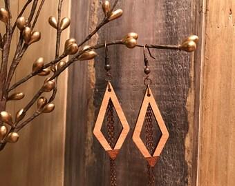 Wooden Earrings - Diamond Fringe
