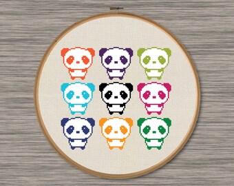 Nine Pandas - PDF Cross Stitch Pattern