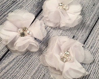 "White Chiffon Flower with Pearls, 2"" Chiffon Flower, Pearls, Flower,  Headband Accessories, Craft Suppliers,"