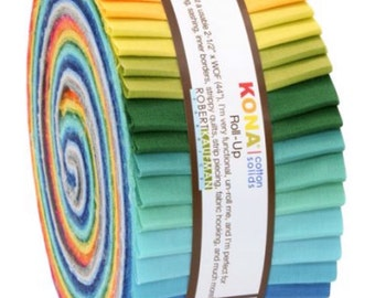 Kona Cotton solids roll up - summer 13 colours - quilts UK seller