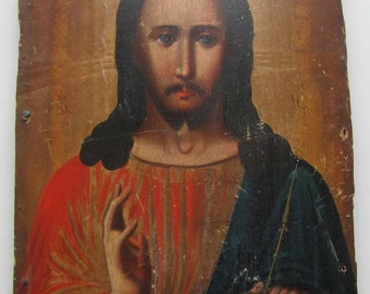 """Antique 19c Russian Orthodox Hand Painted Wood Icon """"Christ Pantocrator""""."""