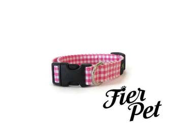 Designer dog collar,dog , gingham ,pink  collar, fier pet ,collar,adjustable collar,fier-pet