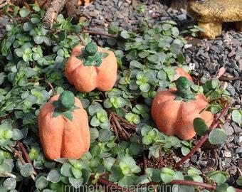 October Pumpkins, Set of 3 for Miniature Garden, Fairy Garden