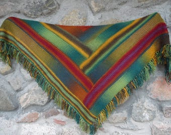 Hand knit triangle scarf,knitted multicoloured shawl,hand knit shawl with tassels, hand knit striped scarf triangle, Gift for her