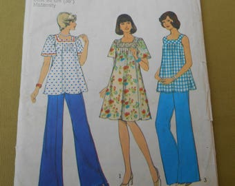 Sewing Pattern, Style Maternity Dress Top Trousers Pattern 1970s, Vintage Sewing, To fit Size Bust 36""
