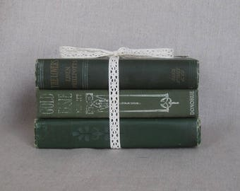 Vintage Book Set in Shades of Green, Shabby Books, Worn Book Bundle