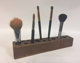 Makeup Brush Holder, Makeup Brush Caddy, Brush Caddy, Brush Holder, Makeup Organizer, Wooden Brush Caddy, Wooden Makeup Stand