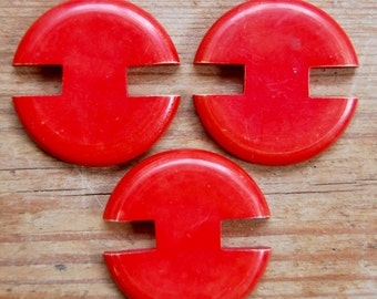 1930s Art Deco Unusual Red Vegetable Ivory Buttons Set of 3