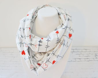Infinity scarf with heartbeats, fall scarf, nurse gift, scarf for nurses,