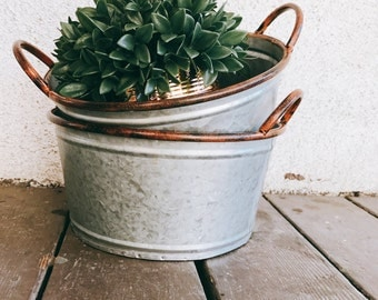 Galvanized Bucket | Metal Bucket | Metal Pail | Fall Decor | Farmhouse | Rustic Wedding| Centerpiece  | farmhouse canister / canister