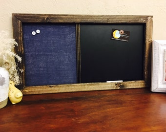 "22""x 35"" Framed Chalkboard Magnetic Message Fabric Board, Bulletin Memo Board,Office, Kitchen, Child's room, Linen,  Magnet Photo Organizer"