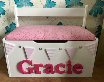 Personlised toy box, bench toy chest made to your specifications. Any name any colour and any theme.
