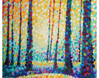 "Forest in Dots 3 - Pointillism Style - Original colorful traditional acrylic painting on paper 11""x14"""