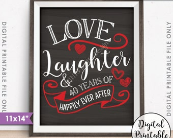 "40th Anniversary Gift, Love Laughter Happily Ever After 40 Years of Marriage Milestones, Instant Download 11x14"" Chalkboard Style Printable"