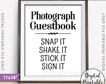 "Photograph Guestbook Sign, Photo Guestbook Photo Sign Wedding Sign, Birthday Party, Graduation Party, 11x14"" Instant Download Printable Sign"