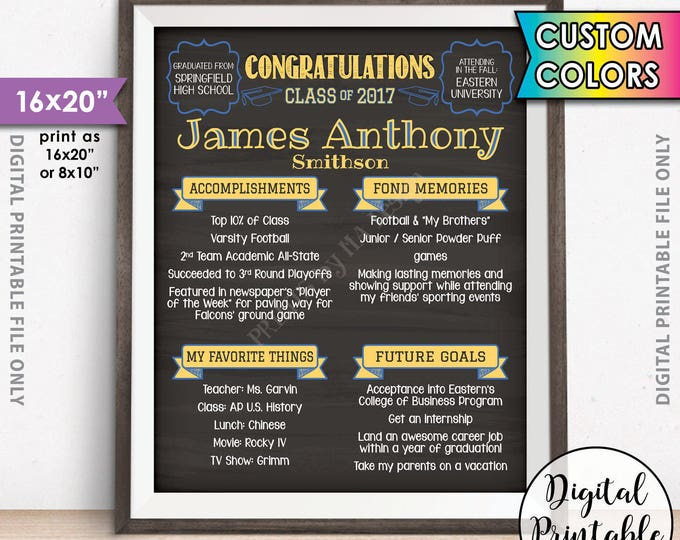 "Graduation Party Sign, High School Milestones Welcome Sign, School Memories, Graduation Party Decorations, 16x20"" Chalkboard Style Printable"