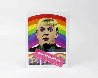 Gay Clown Donald Trump Sticker Sheet / Stop Homophobia 8 Sticker Set, Various Sizes
