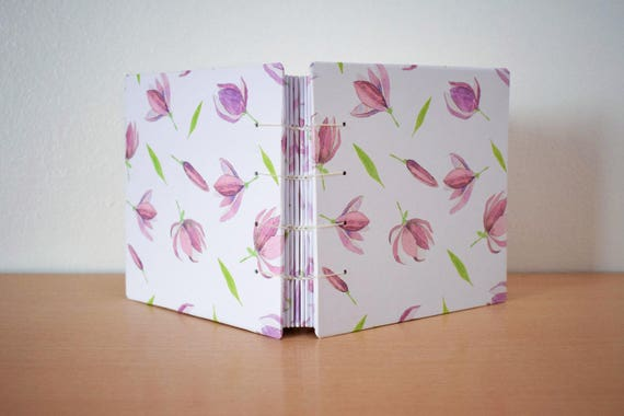 Blank pages notebook, Floral notebook, Notebook for her, Colourful notebook, Hardcover notebook, Coptic journal, Cute notebook