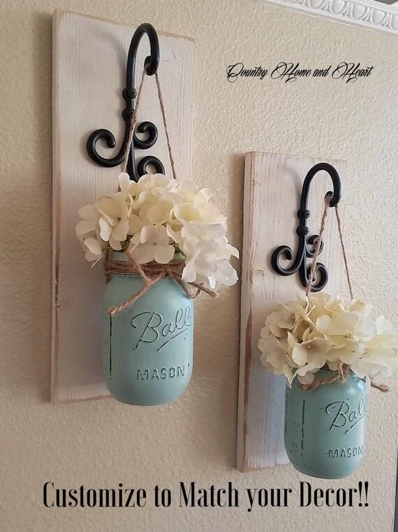 Wall Sconce Elle Decor : Set of 2 Mason Jar Sconces Mason Jar Wall Decor Country