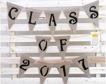 Class Of 2017 Banner, Graduation Decor, Grad Banner, Congrats Grad, Congrats Banner, Graduation Banner, Burlap Banner