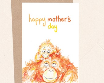Cute Mother's Day Card Happy Mother's Day Animal with Baby Orangutan Ape