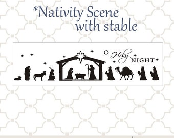 SVG Nativity scene with stable PNG EPS digital