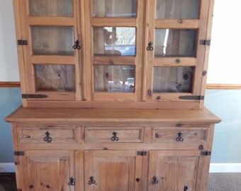SOLD*** SOLD*** SOLD***Mexican rustic pine dresser glazed display cabinet bookcase