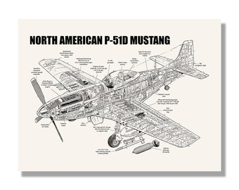 P 51 blueprint art etsy north american p 51d mustang official aviation cutaway by mike badrocke blueprint style malvernweather Gallery