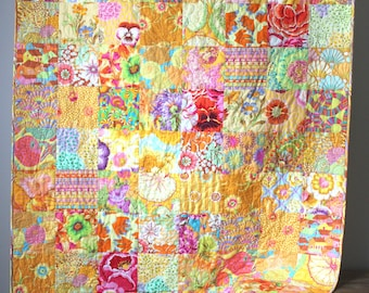 Yellow Lap Quilt- Kaffe Fassett Quilt- Modern Throw Quilt- Homemade Quilt- 2nd Anniversary Gift-Bohemian Quilt-Boho Quilt-Yellow Home Decor