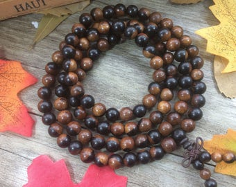 Natural Dalbergia melanoxylon 108 8mm/6mm Wood Black Brown Beads Japa Mala Buddha Necklace Yoga Bracelet