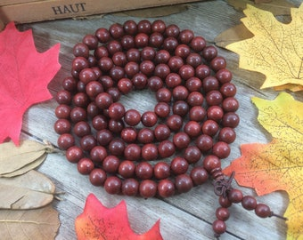 108 8MM Natural Red Rosewood Dalbergia cochinchinensis Buddha Japa Mala Prayer Beads necklace