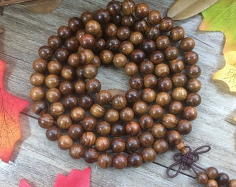 108pc 8mm/6mmNatural Dalbergia odorifera/Palisander Rosewood Beads Meditation Buddhist Japa Mala Necklace