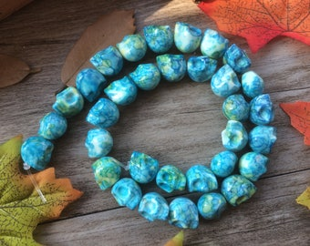 """Mixed Agate Powder Skull Gemstone  15"""" Loose Beads DIY Suppliers for Jewelry Spacer Charms  Full Strand  Turquoise color"""