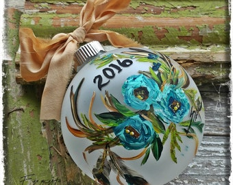 2016 Antlers and Turquoise Roses Handpainted Ornament
