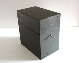 Vintage FLAMBO File Box - French Retro 60s Green Metal Archive Rack - Mid Century Industrial Desk Box