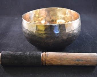 "Singing Bowl Traditional Hand Beaten from Nepal with Beater 13cm / 5"" Diameter Solar Plexus Chakra"