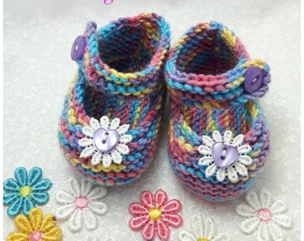 Baby girl shoes Baby knitted shoes Mary Jane style baby girl shoe multi colours Babies Knitted Shoe baby gift lace white flower baby shower
