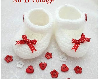 Baby Shoes, Baby Girl's Shoes Knitted Shoes red polka dot bow Baby Shoes red bow Shoes Mary Jane Style Christening red bow baby shoe