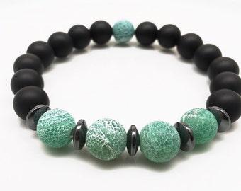Frosted Agate Bracelet, Green Agate Bracelet, Matte Onyx Bracelet, Black Bracelet, Stretch Bracelet, Beaded Bracelet, Gemstone Bracelet