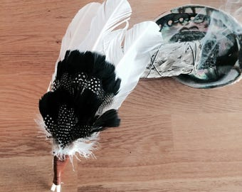 Home Cleansing Black Spotted Smudge Feathers