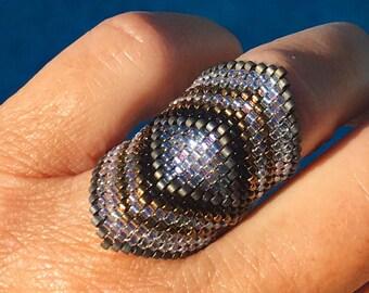 Advanced gray and caramel Pearl miyuki ring