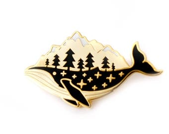 Gold Whale Enamel Pin (hard enamel pin lapel pin badge enamel jewelry cute whale pin jewelry mountains whale cloisonne backpack pins)