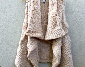 Tan Long Rabbit Fur Vest, Camel Vest, Rabbit Fur Vest, Camel Fur Vest called Khloe