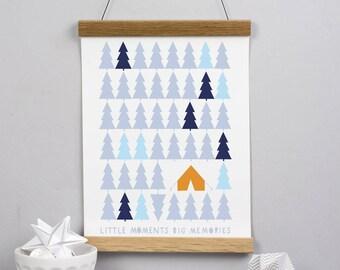 Forest art print - wall decor - forest print - woods - camping - scandinavian style - wall hanging - art