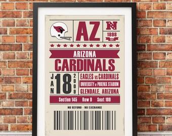 Arizona Cardinals Retro Ticket Print